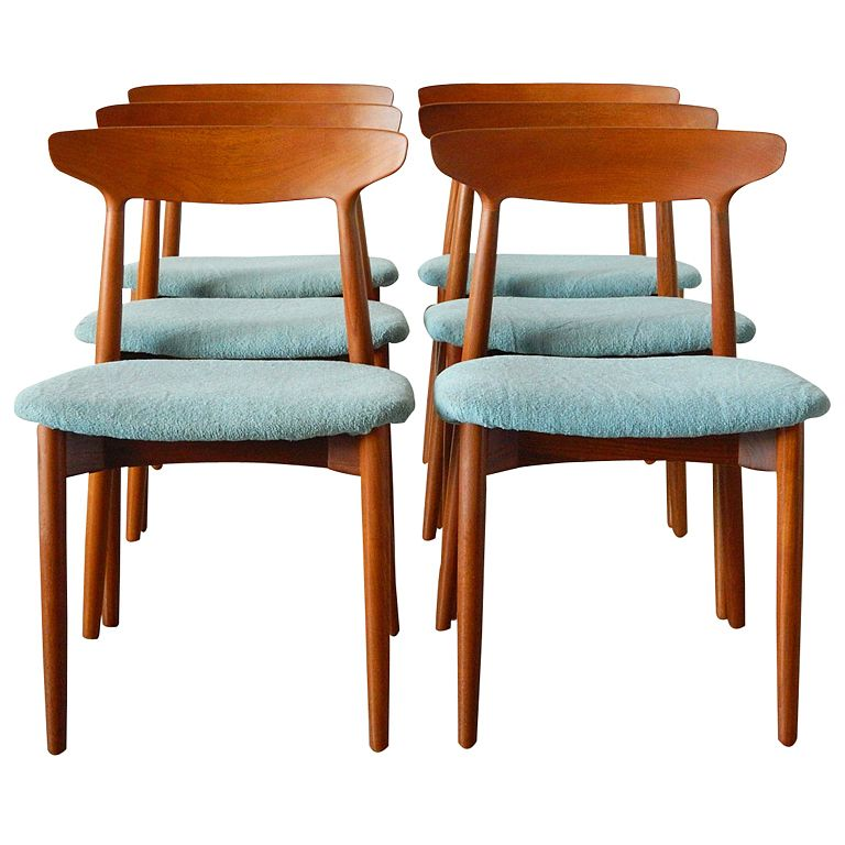 Scandinavian Teak Dining Room Furniture Six Harry Ostergaard Danish Teak Dining Chairs For Randers  Teak