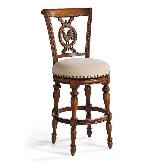 Fantastic Carved Rooster Swivel Bar Height Bar Stool 30H Seat Our Machost Co Dining Chair Design Ideas Machostcouk