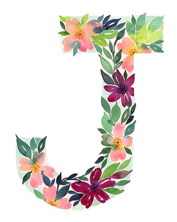 Watercolor Alphabet Letter J Print Initial J Watercolor Floral Letters Watercolor Monogram Watercolor Lettering