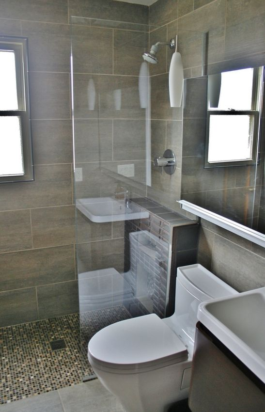 curbless shower in a small bathroom - Google Search | tahoe bathroom ...
