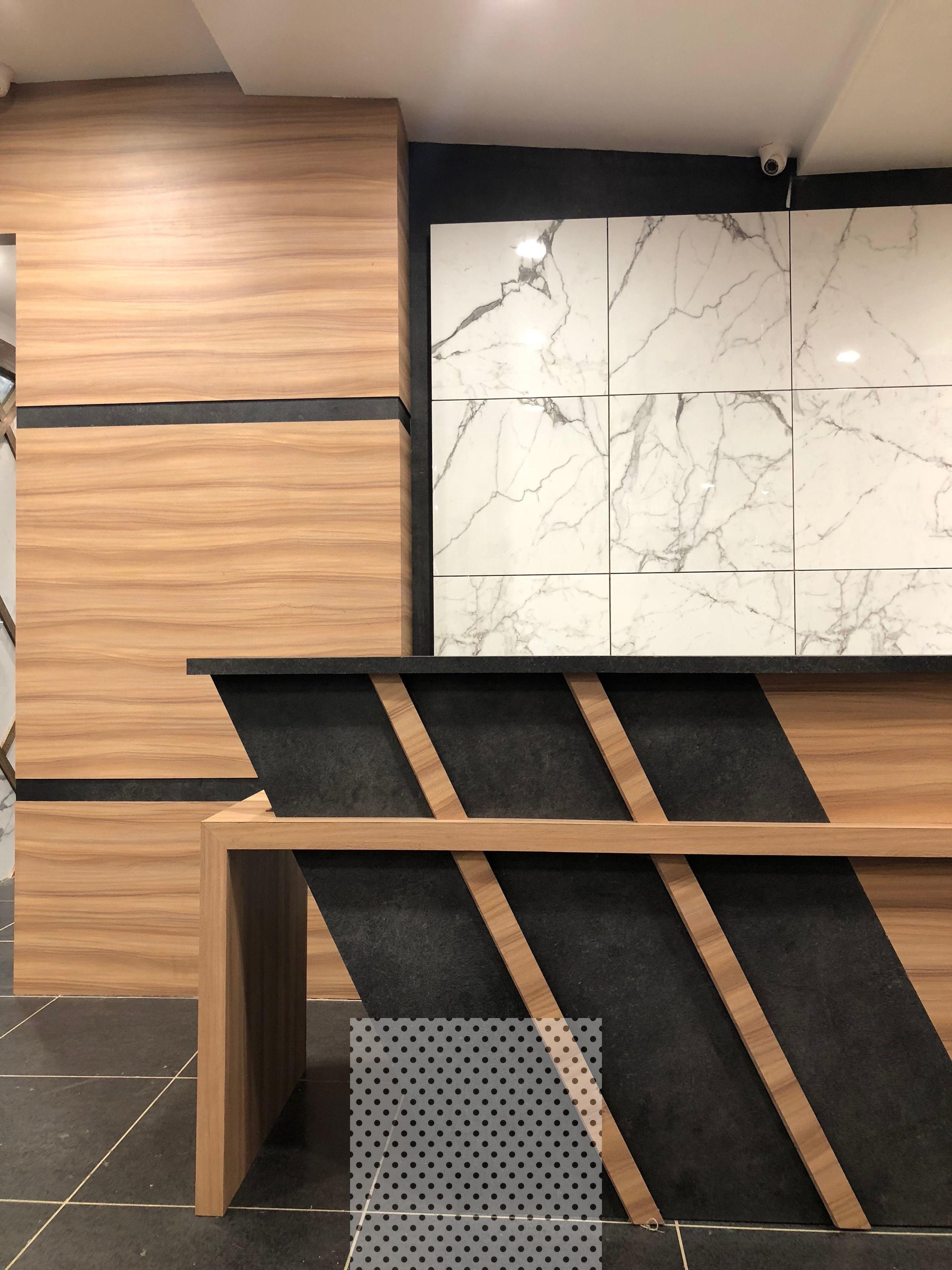 15 Impressive Farmhouse Contemporary Decor Ideas Office Reception Table Design Office Table Design Reception Table Design