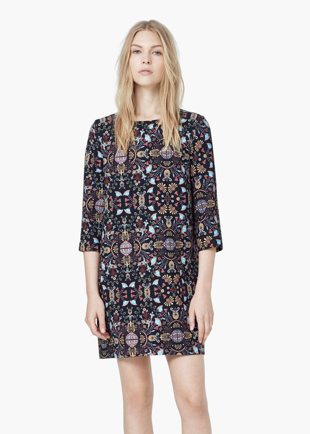 Prosta wzorzysta sukienka - Sukienki dla Kobieta  82944b110