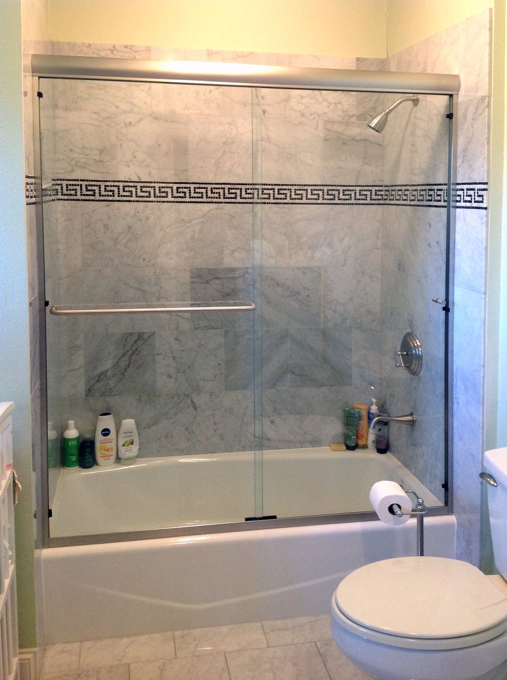 Frameless Sliding Bath Tub Door with Header | Bathrooms ...