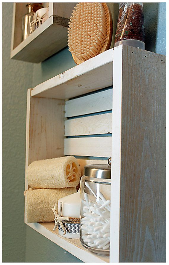 Price Listed Is For One Shelf We Get A Beach Vibe From These Handmade Rustic Beach Crate Shelves They Nautical Shelves Nautical Bathroom Decor Crate Shelves