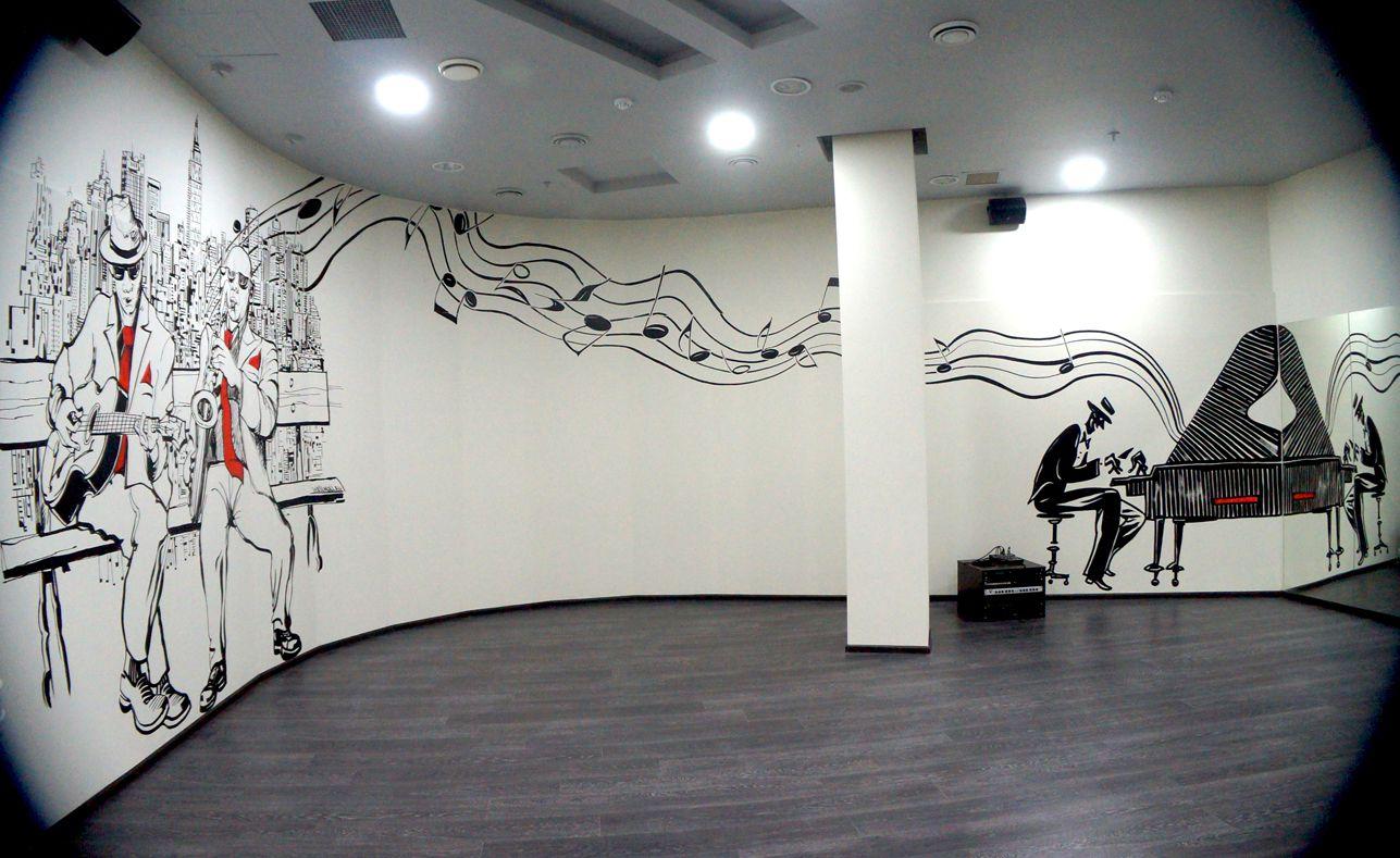 Dance school full wall music décor