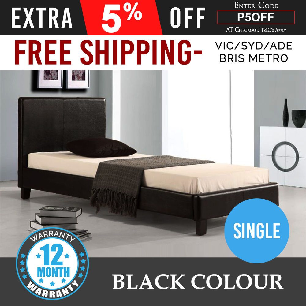 New Bed Frame Single Size Pu Leather Wooden Slat Base High Padded