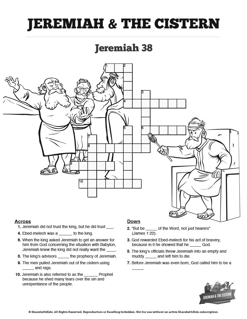 The Prophet Jeremiah Sunday School Crossword Puzzles The Story Of