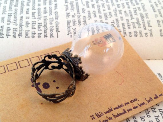 1 Pc Small Clear DIY Globe Glass Bottle Ring Antique Style Bronze Ring Base Terrarium Bottle Ring Apothecary Bottle Jewelry Supplies.    ~