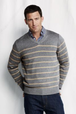 Men's Stripe Cotton Drifter V-neck Sweater from Lands' End | fall ...