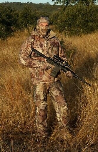 Kryptek Highlander camo. Hog hunting Texas style. DPMS Oracle 308 with Nikon Africa 1-4 scope. Geiselle SSA trigger. Magpul Miad and stock.