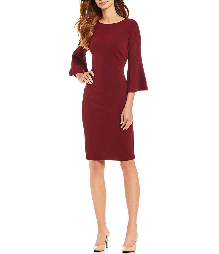 fd80bf1a232b0 Calvin Klein Bell Sleeve Sheath Dress in 2019 | Dresses | Dresses ...
