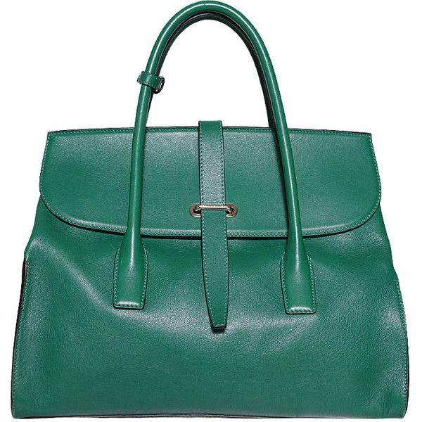 Sonia Rykiel Leather Matthieu Bag found on Polyvore featuring polyvore, fashion, bags, handbags, purses, green, leather handbags, genuine leather handbags, green purse and leather bags