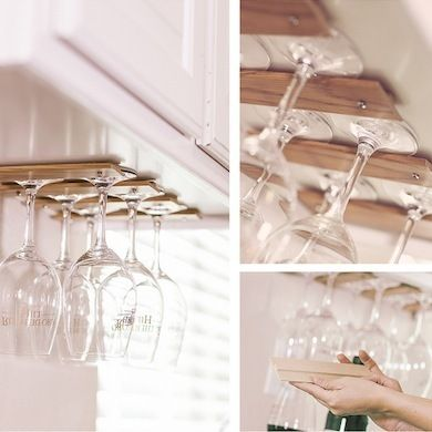 Some T Molding Attached To Your Ceiling Makes For Unique AND Handy Storage  For Glasses!