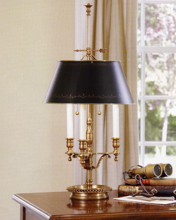 Solid Brass Table Lamp With Black Shade Table Lamps Brass Table