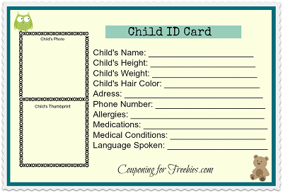 free printable child id card good idea to have for kids back to