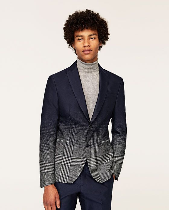 d37413148 Image 2 of NAVY BLUE SUIT BLAZER WITH OMBRÉ CHECKS from Zara ...