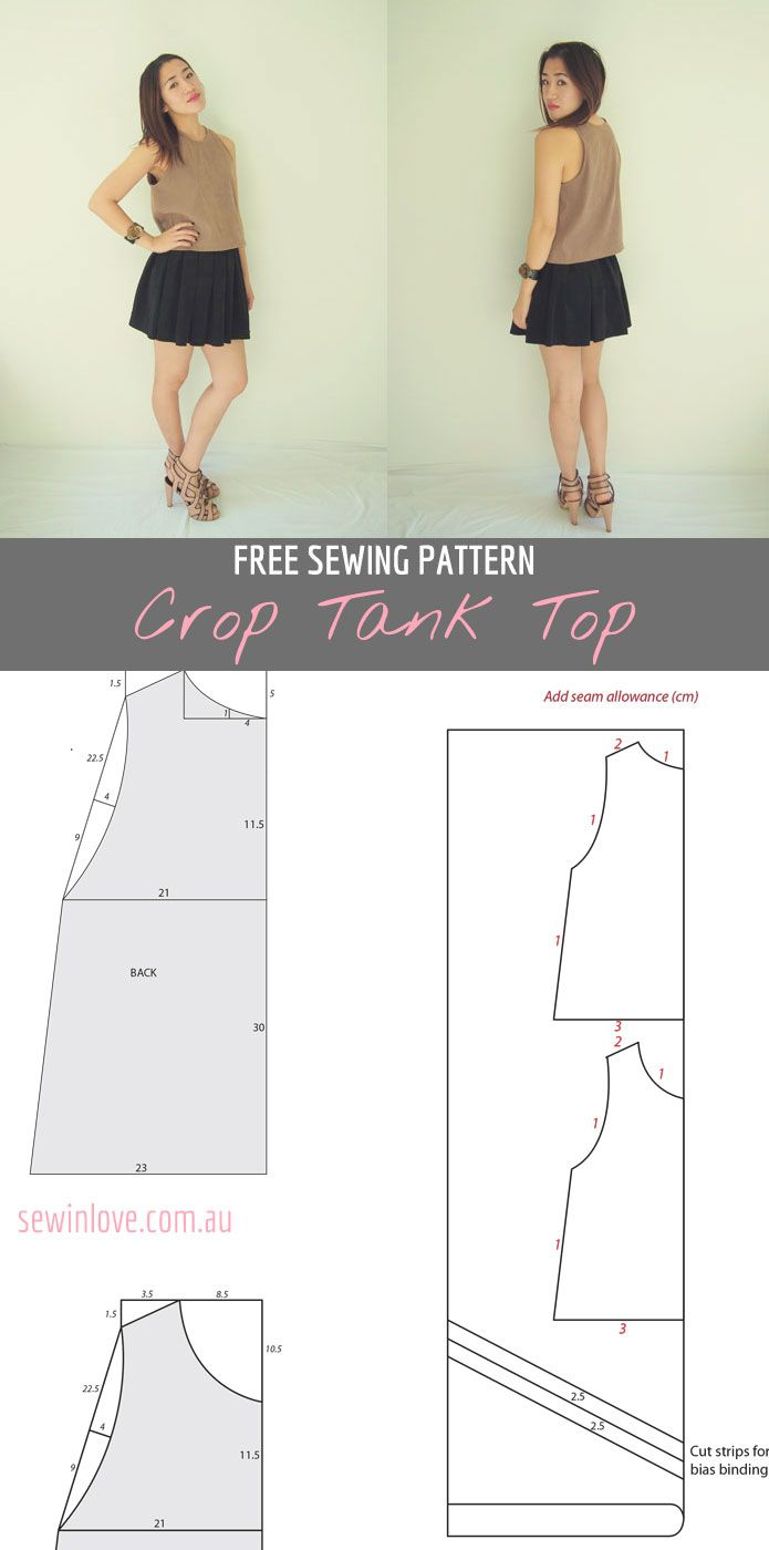 Free crop tank top sewing pattern and tutorial | Mama, Nähen und ...