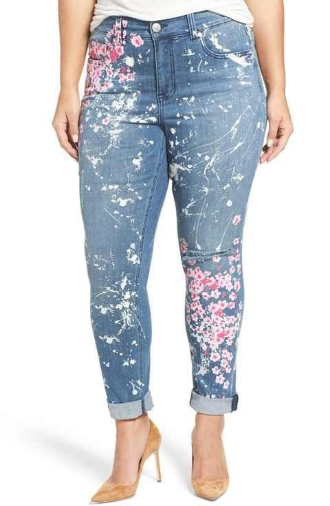 6252507bd432b Melissa McCarthy Seven7  Splatter Blossom  Print Stretch Roll Cuff Skinny  Jeans (Plus Size)