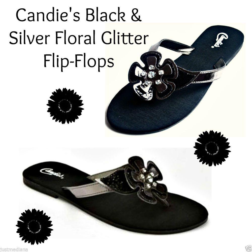 8a08ba45fe418 Candie s Women s Super Cute Black   Silver Floral Glitter Flip-Flops - Sz M  7
