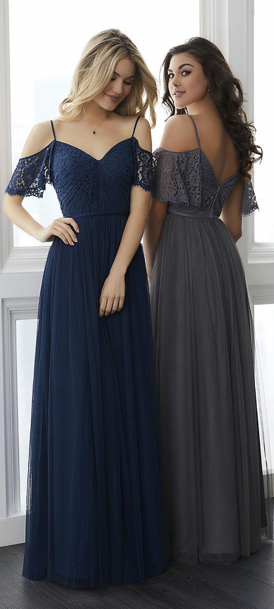 Long Tulle Spaghetti Straps Floor-Length Lace Sleeveless Bridesmaid Dress 7e6945c80c39