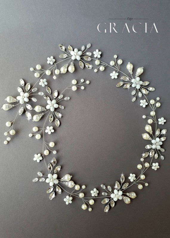 Bridal hair vine Long hair vine Wedding hair vine Flower hair vine Wedding headpiece Pearl hair vine Bridal hairpiece Crystal hair vine #bridalhair