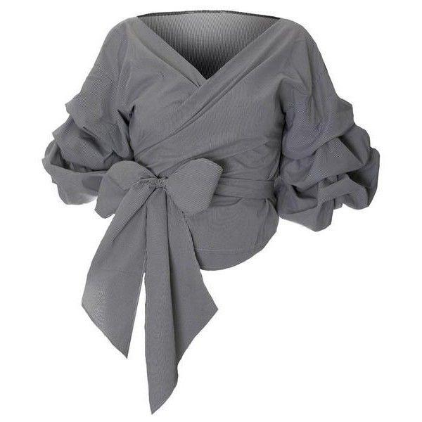 7e7ea11f77c46 Plus Size Off the Shoulder Wrap Around Blouse