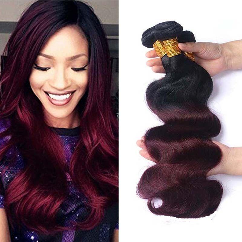 Brazilian Ombre Human Hair 3 Bundles Two Tone 1b99j Burgundy Body