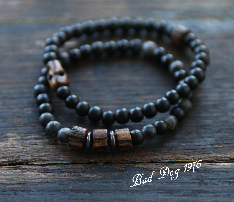 Two mens skull mala bracelet set black network yoga beads gun metal
