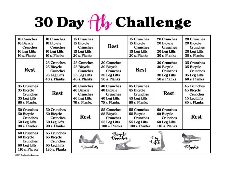 It is a picture of Selective Printable 30 Day Ab Challenge