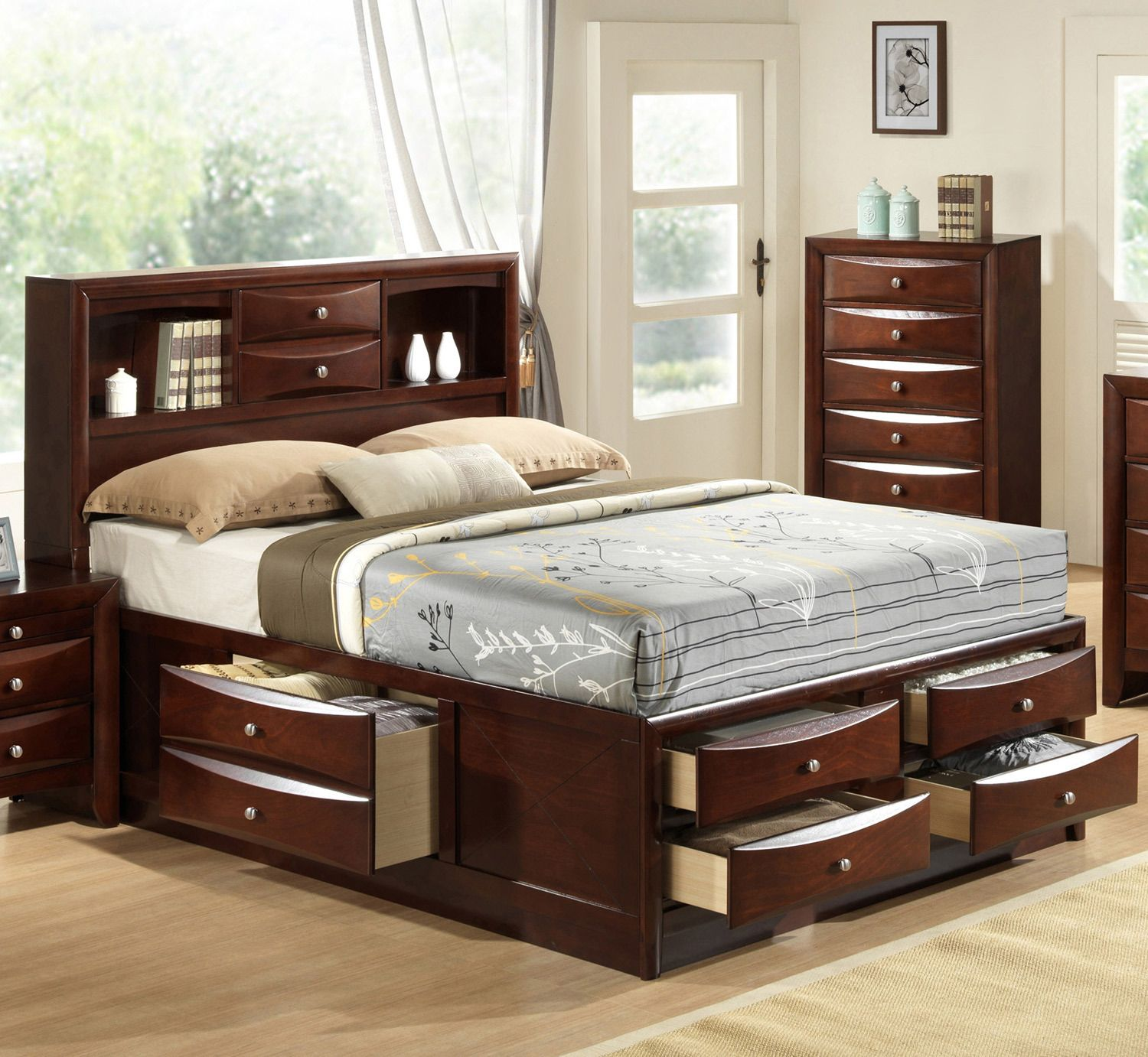 Emily Queen Storage Bed Crown Mark Furniture Home