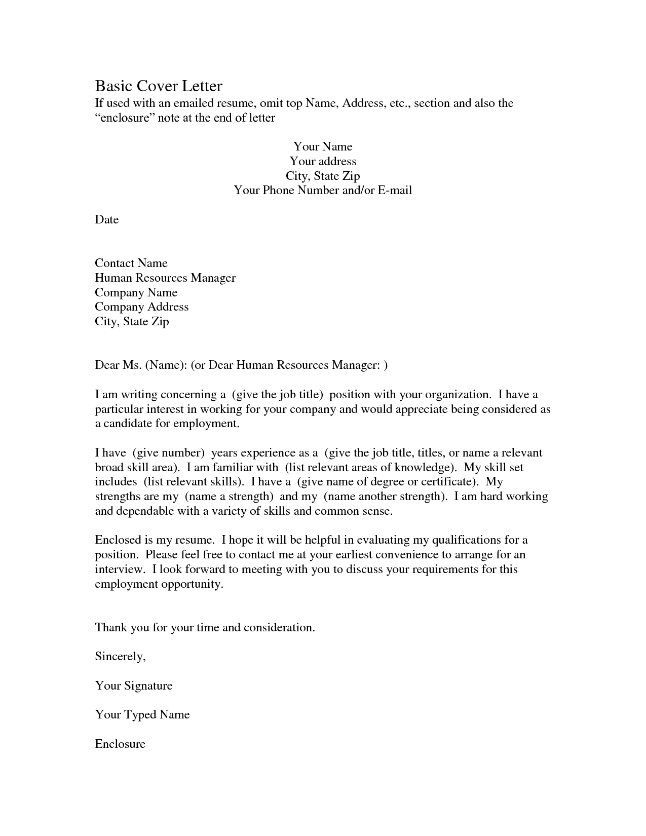 Basic Resume Cover Letter Template - Format of a cover letter