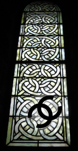 The interlocking C's came from stained glass windows