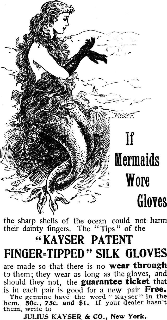 mermaids. An ad from 1896 for ladies gloves