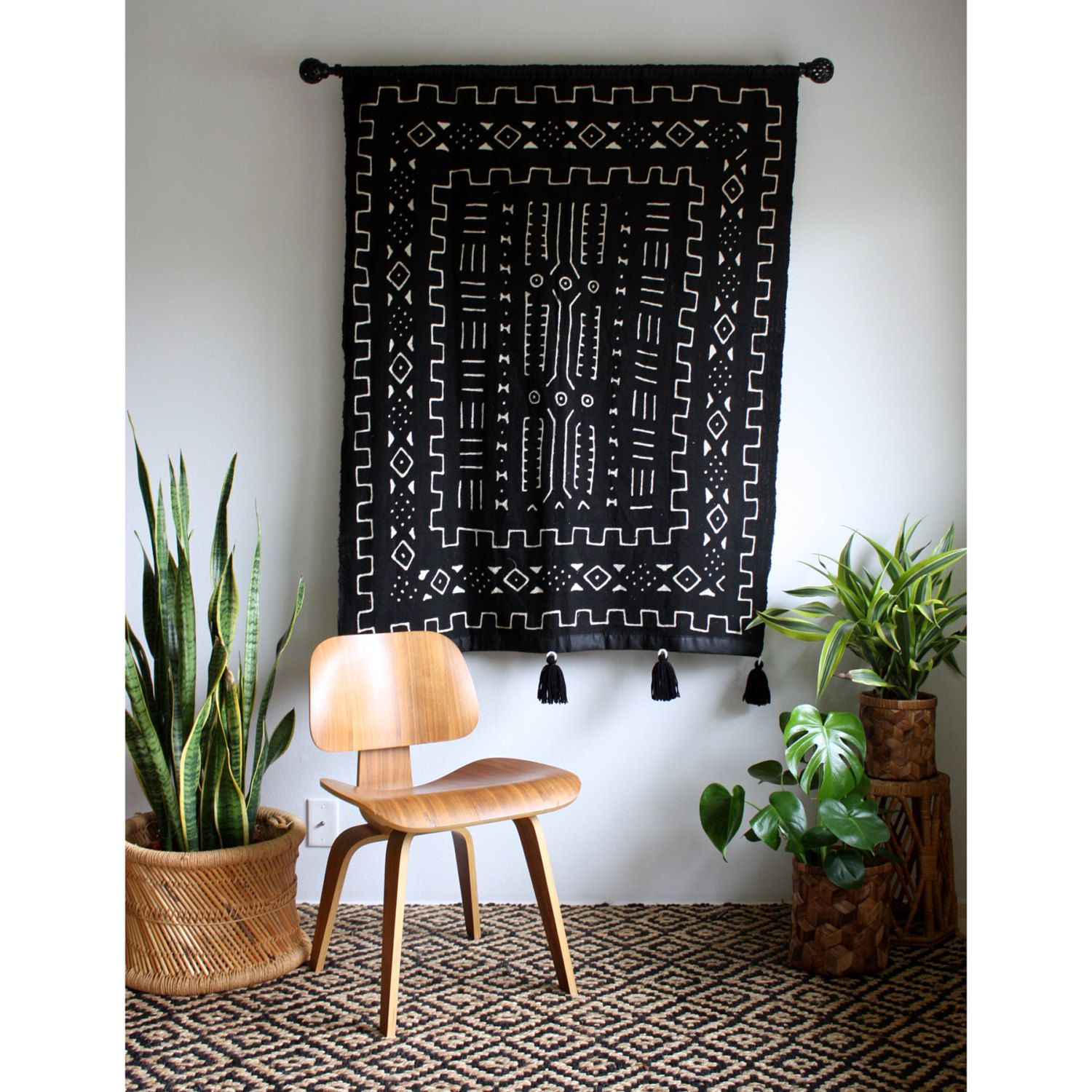Large Tassels Home Decor: Black Mudcloth African Wall Hanging, Mud Cloth