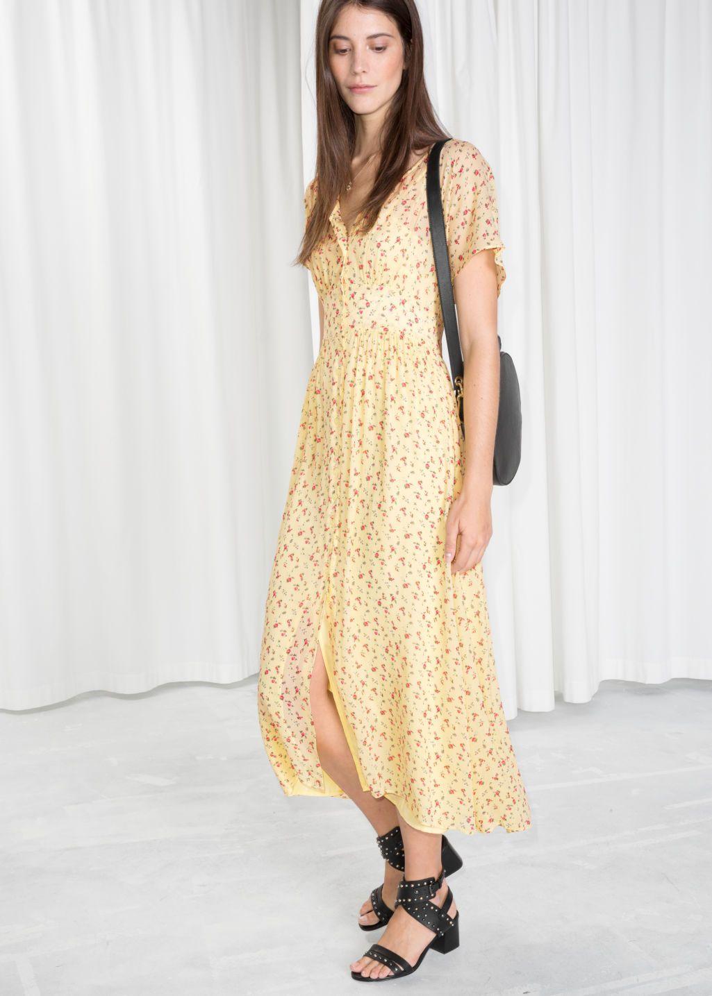 792469558e79 Floral Print Midi Dress - Light Yellow - Midi dresses -   Other Stories