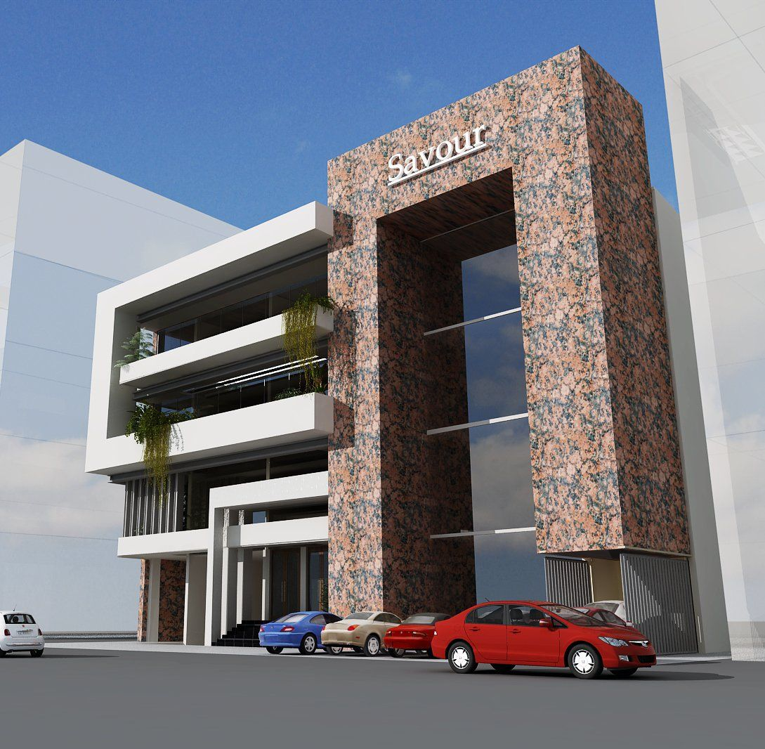 3d Front Elevation Of Commercial Building : D commercial plaza tower front elevation g