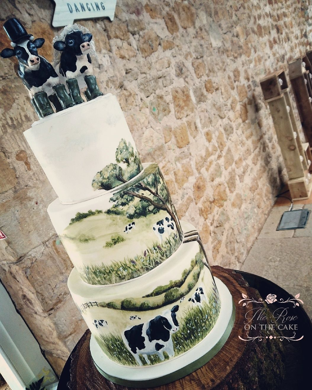 Farm Countryside Cow Wedding Cake Dairy Farmers Hand Painted With Cocoa Er Fimo Toppers The Rose On