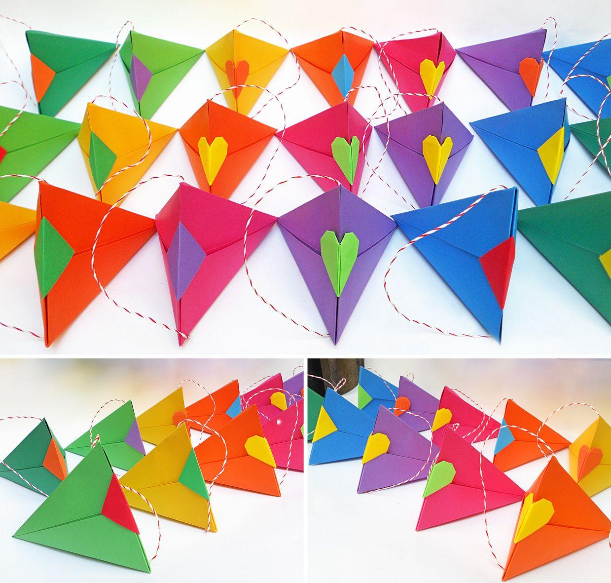 Origami Cajas Triangulares Multicolor Mis Origamis Pinterest