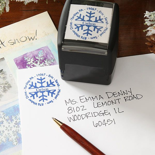 This Snowflake Return Address Stamp Is Perfect For A