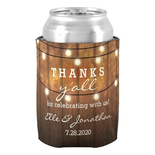 Rustic Wedding Country String Lights Thanks Y'all Can Cooler | Zazzle.com