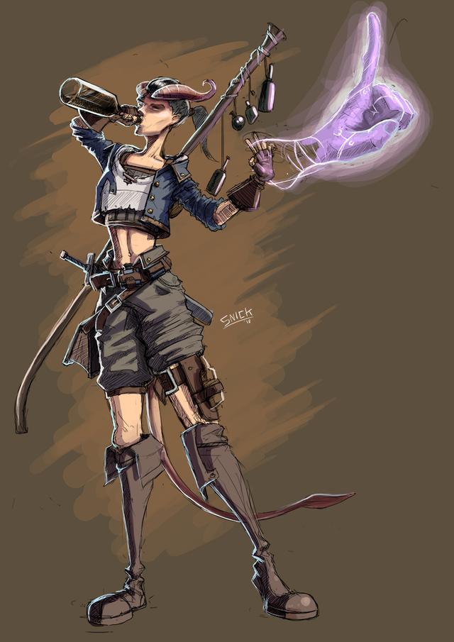Female Tiefling Sorcerer Character Concept Art