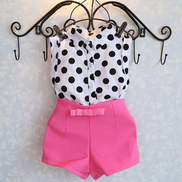f57ade9091 Menina roupa do bebê 2 pcs Polka Dot T-shirt + Calças Roupas Conjuntos de  Roupas Para 1-6 Anos