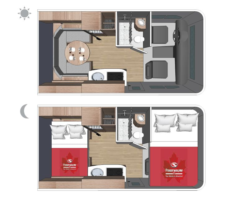 Motorhome Sleeps Up To 3 Persons