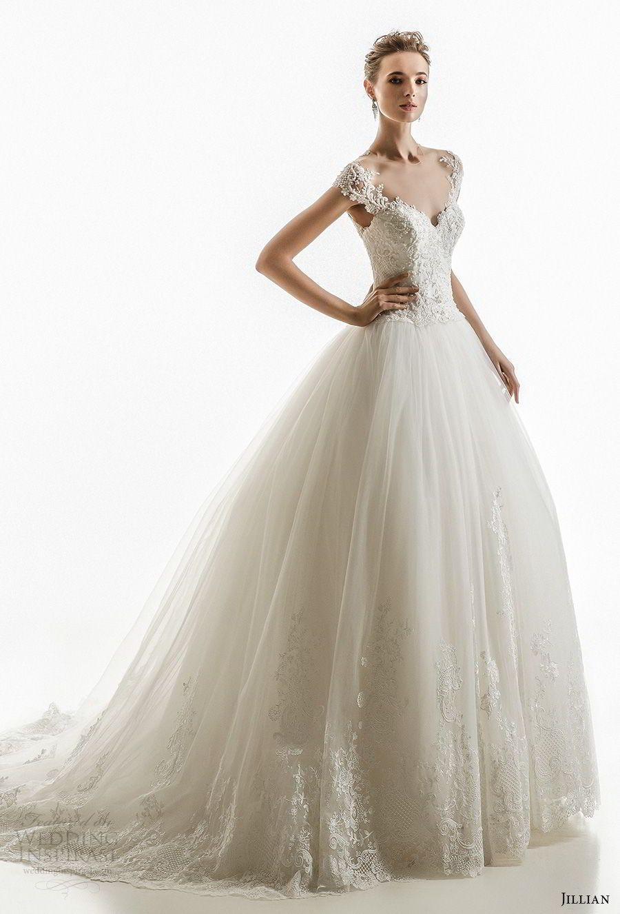 d63512c2504 jillian 2018 bridal cap sleeves illusion jewel sweetheart neckline heavily  embellished princess ball gown wedding dress sheer lace back chapel train  (17) mv ...