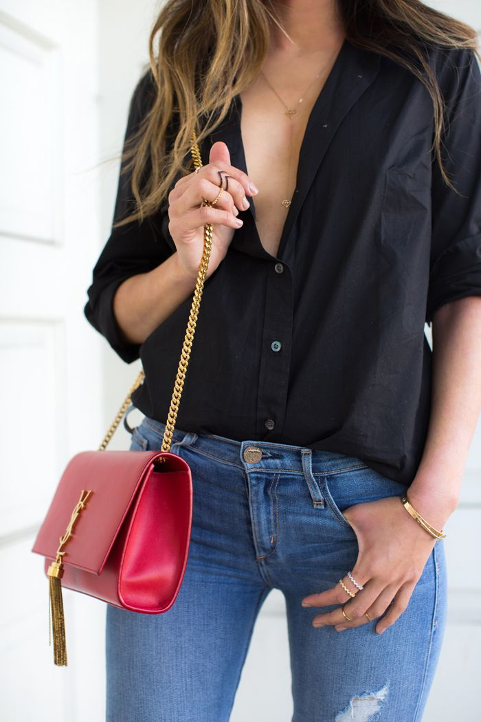 Song of Style - J. Crew Button Down Shirt | Skinny Jeans | Saint Laurent Monogram Chain Bag