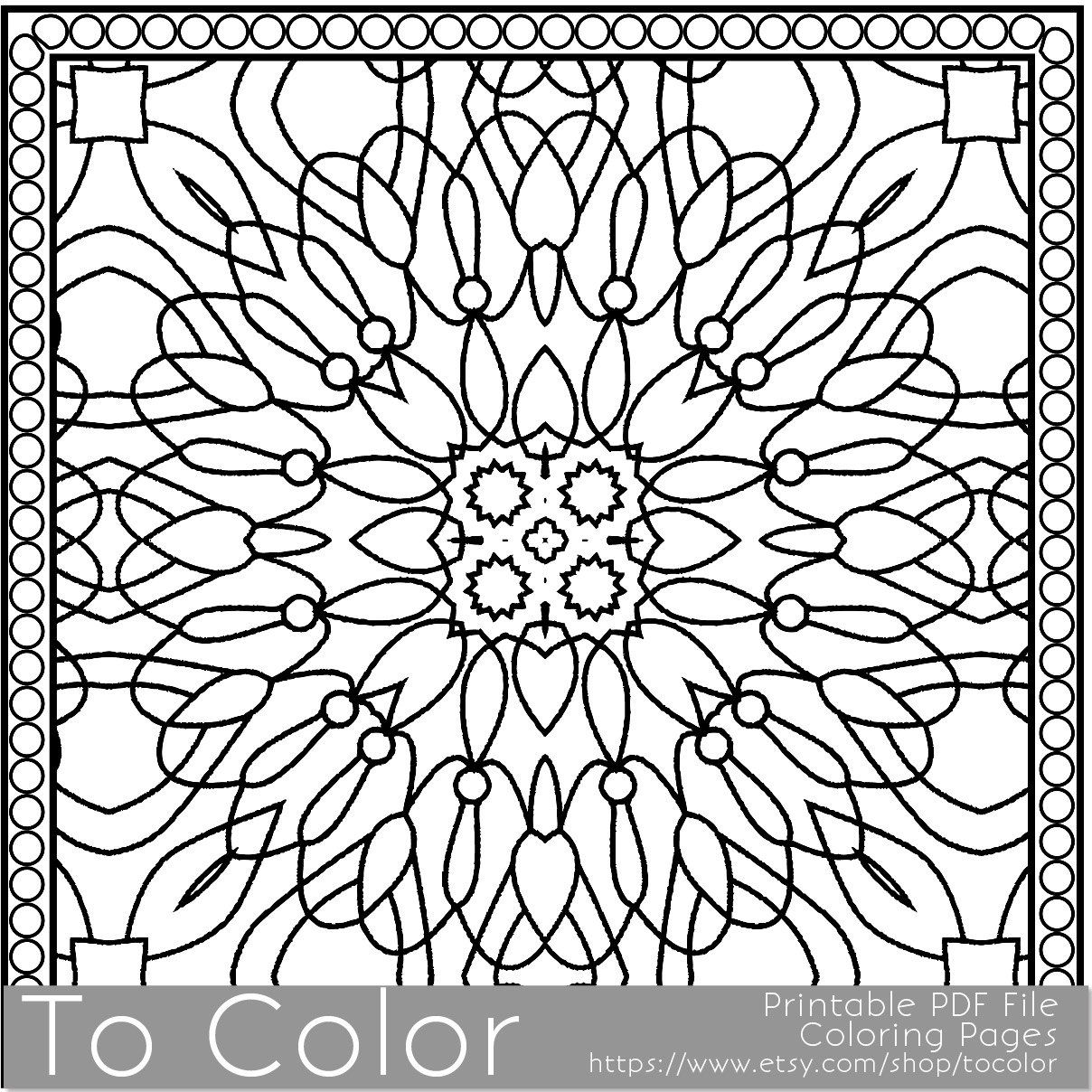 Printable coloring pages etsy - Printable Coloring Pages For Adults Square Coloring Pattern Pdf Jpg Instant Download