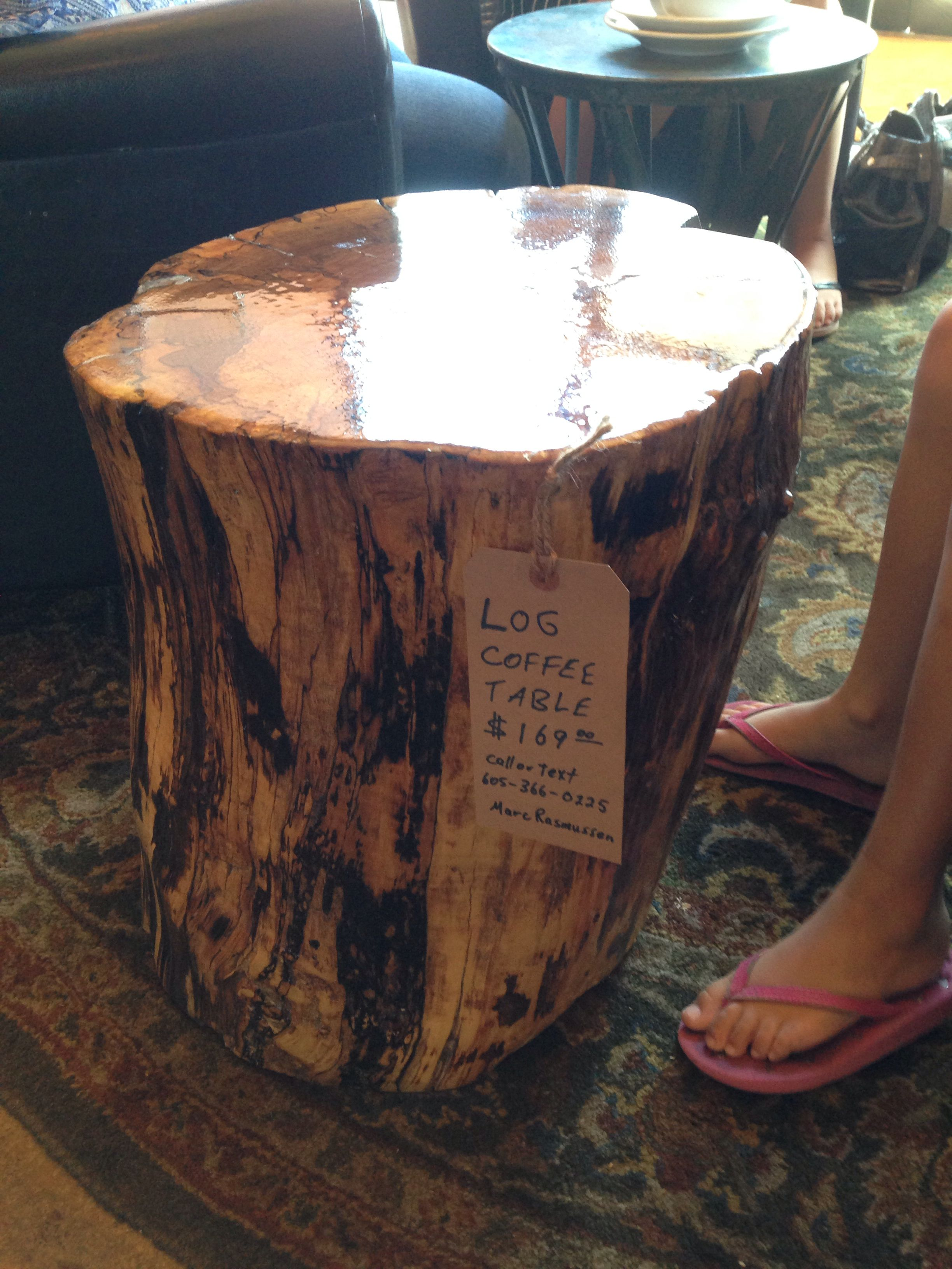 Cottonwood Log Coffee Table With Clear Glaze Log Coffee