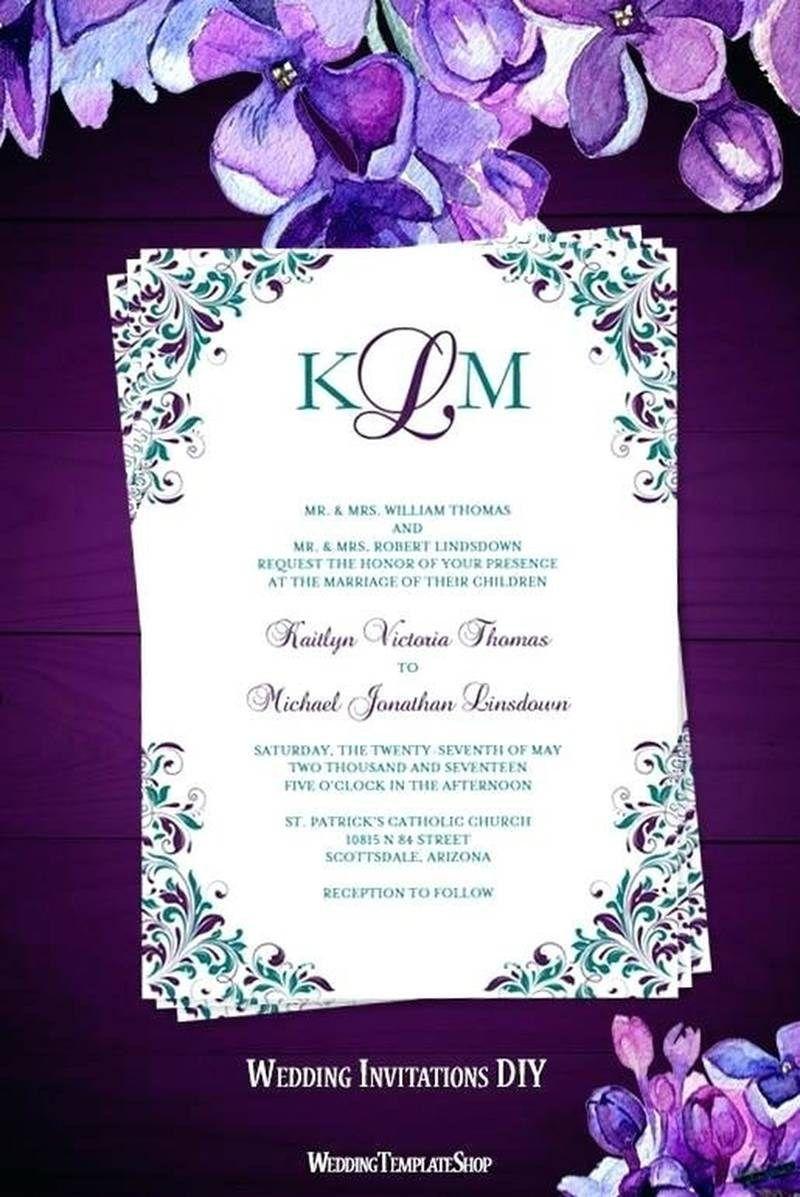 Blue Dendrobium Wedding Invitation Set Turquoise Purple Watercolor