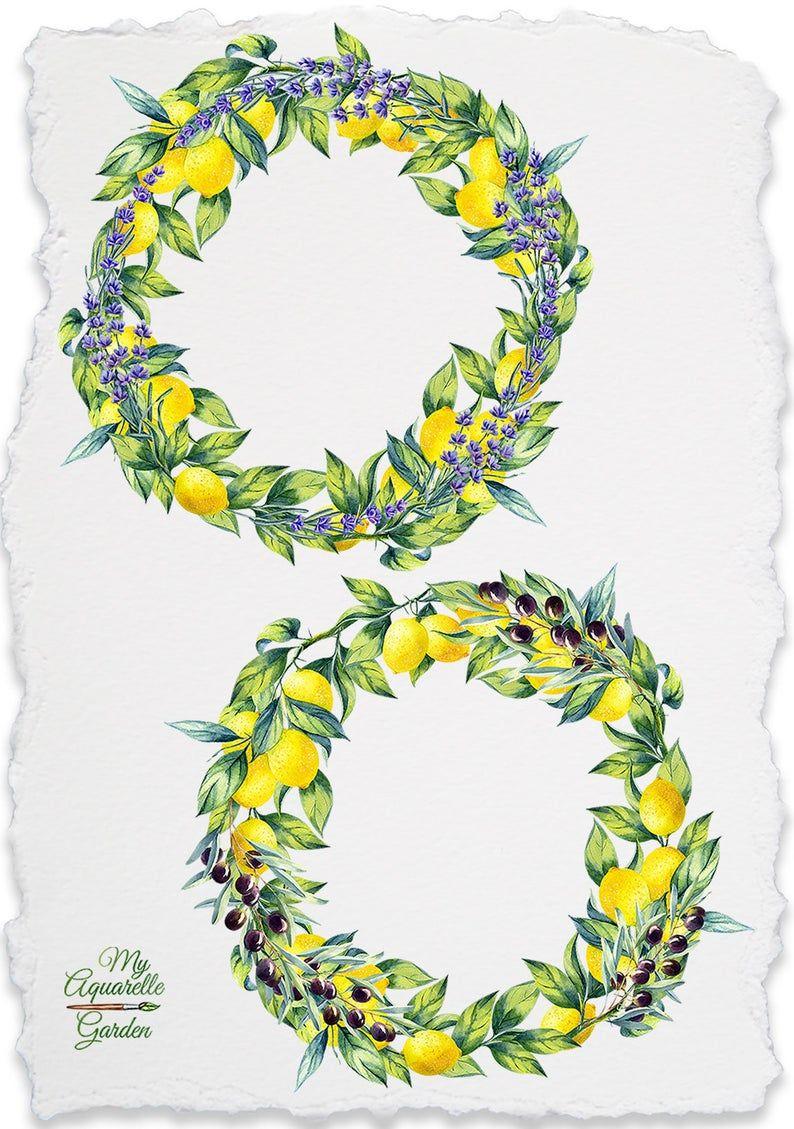 Lemon wreaths. Watercolor hand drawn clip art. Botanical