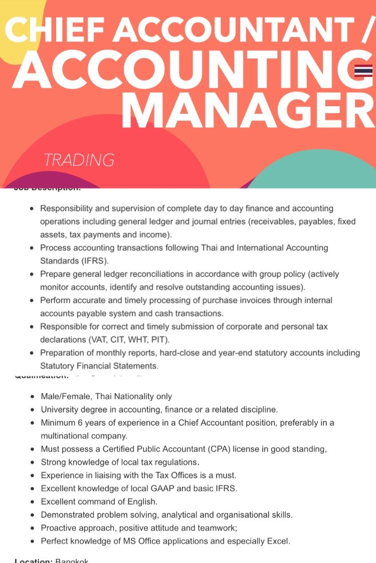 Seeking CHIEF ACCOUNTANT / ACCOUNTING MANAGER to work in